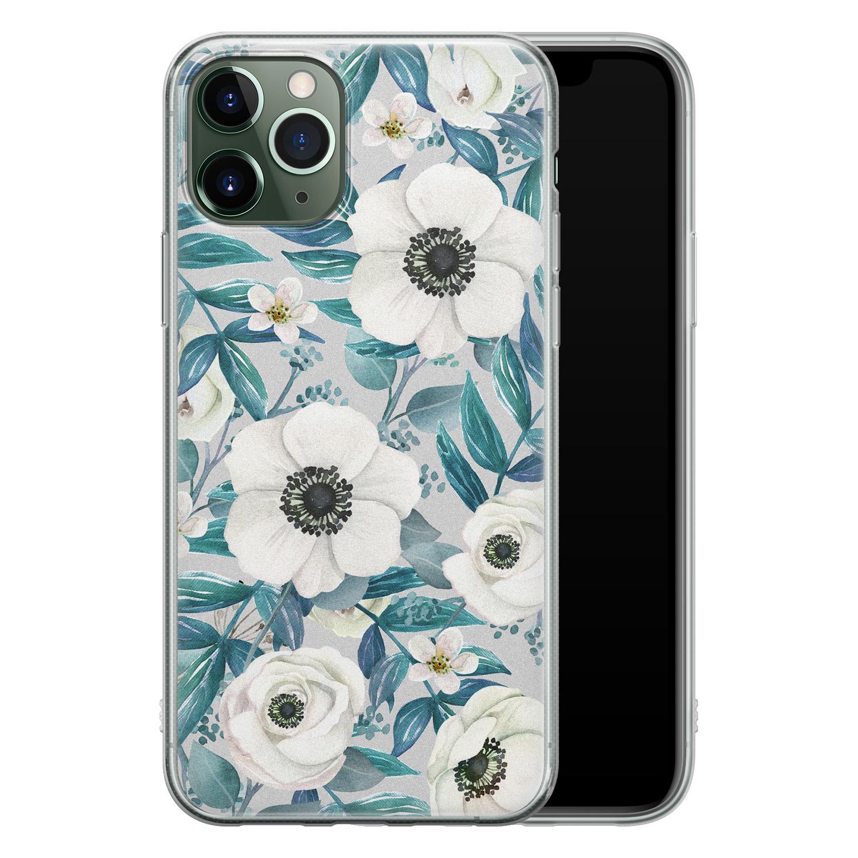 iPhone 11 Pro Max siliconen hoesje - Witte bloemen