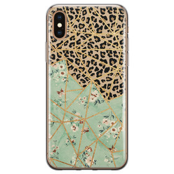 Leuke Telefoonhoesjes iPhone XS Max siliconen hoesje - Luipaard flower print