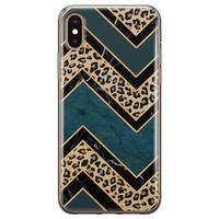 iPhone XS Max siliconen hoesje - Luipaard zigzag