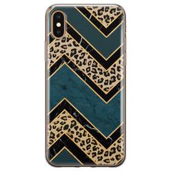 Leuke Telefoonhoesjes iPhone XS Max siliconen hoesje - Luipaard zigzag