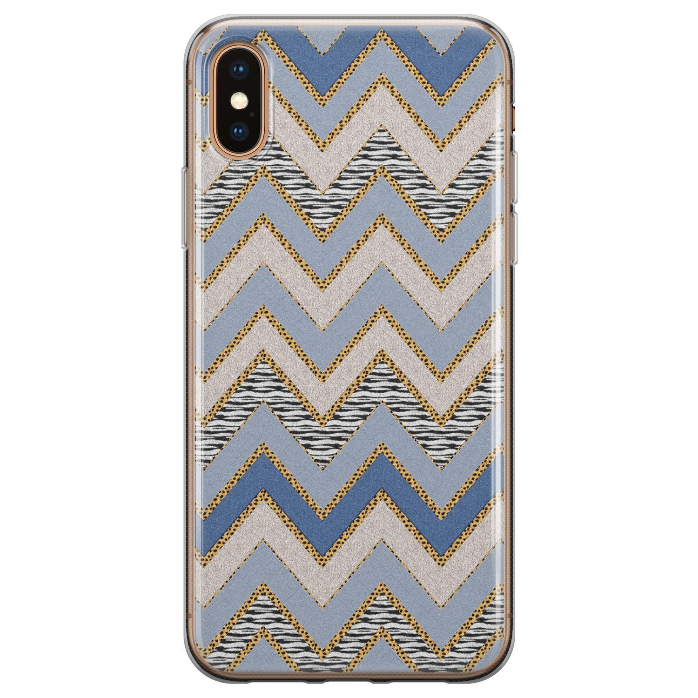 iPhone XS Max siliconen hoesje - Retro zigzag