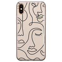 iPhone XS Max siliconen hoesje - Abstract gezicht lijnen