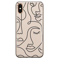 Leuke Telefoonhoesjes iPhone XS Max siliconen hoesje - Abstract gezicht lijnen