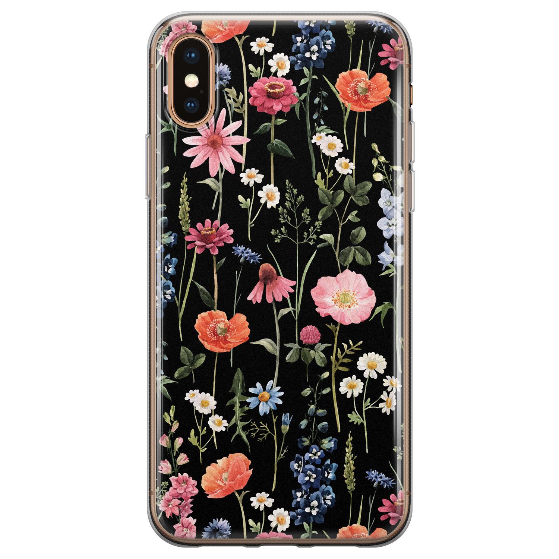 iPhone XS Max siliconen hoesje - Dark flowers