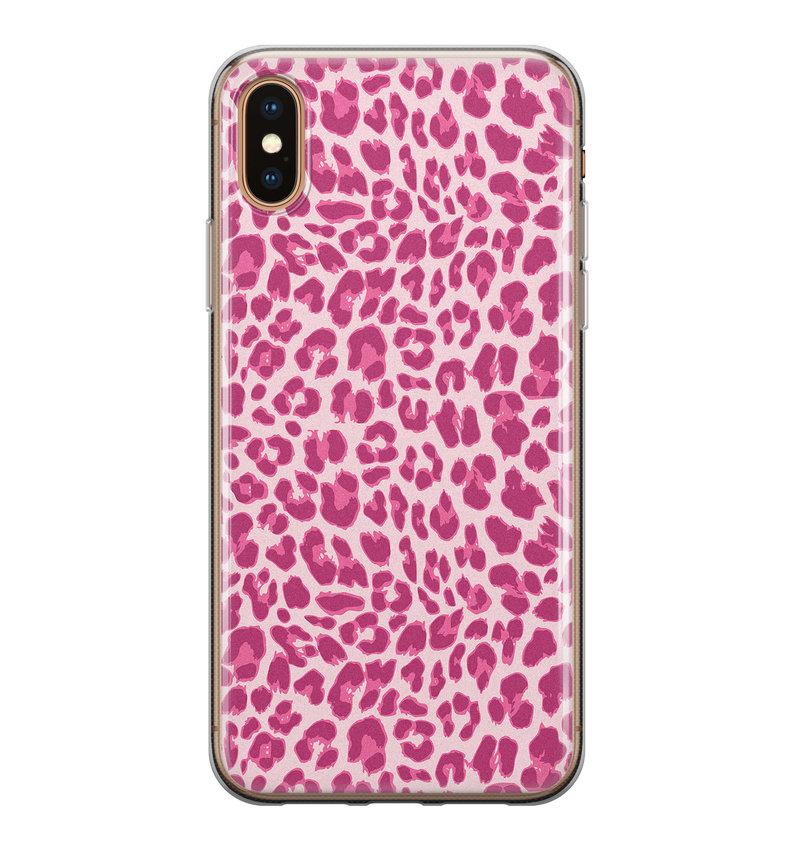 iPhone XS Max siliconen hoesje - Luipaard roze