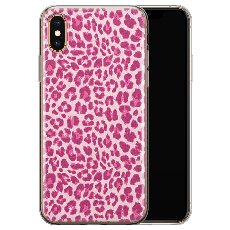 Leuke Telefoonhoesjes iPhone XS Max siliconen hoesje - Luipaard roze