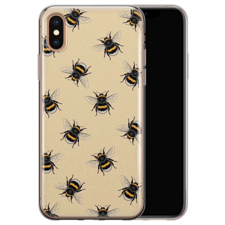 iPhone XS Max siliconen hoesje - Bee happy