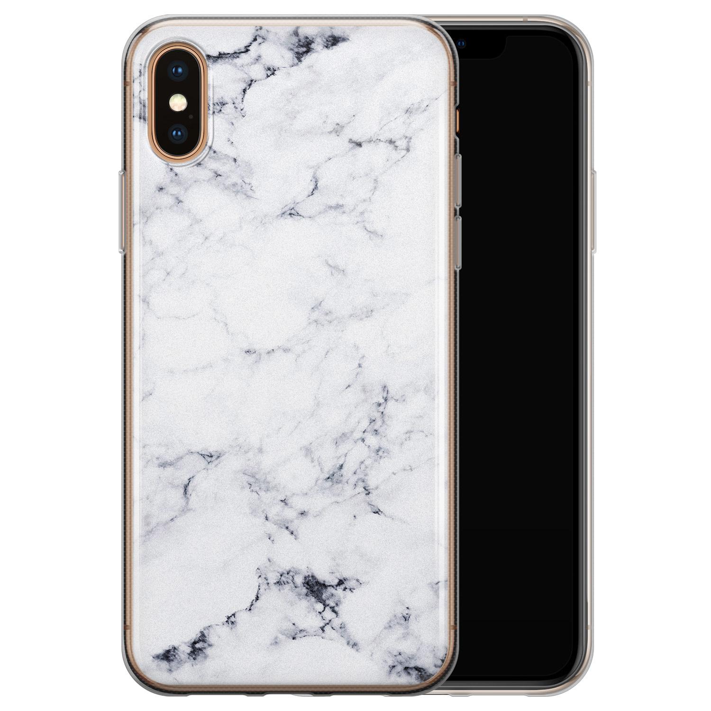 iPhone XS Max siliconen hoesje - Marmer grijs