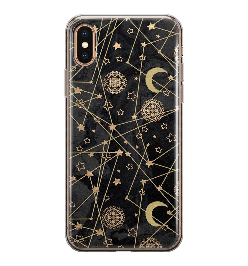 iPhone XS Max siliconen hoesje - Sun, moon, stars