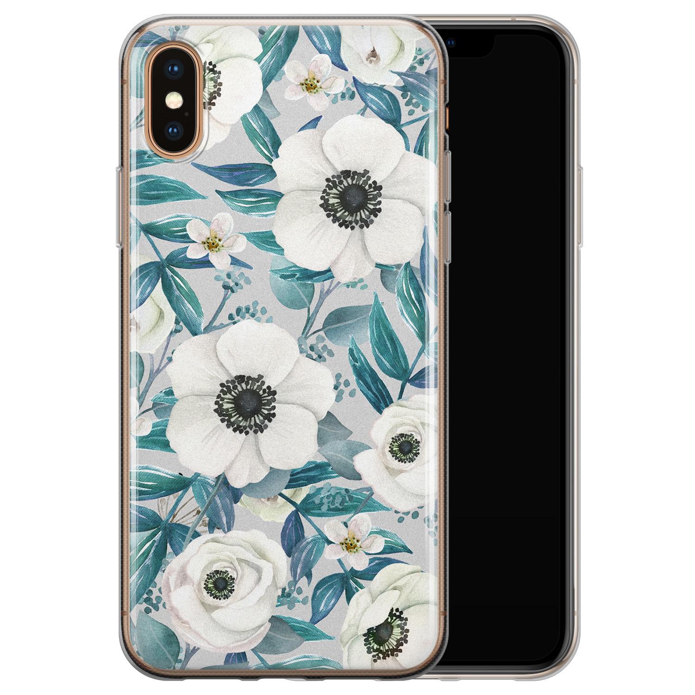 iPhone XS Max siliconen hoesje - Witte bloemen