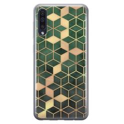 Leuke Telefoonhoesjes Samsung Galaxy A70 siliconen hoesje - Green cubes