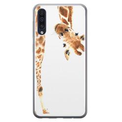 Samsung Galaxy A70 siliconen hoesje - Giraffe peekaboo