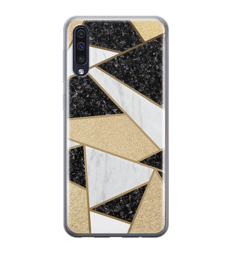 Samsung Galaxy A70 siliconen hoesje - Goud abstract