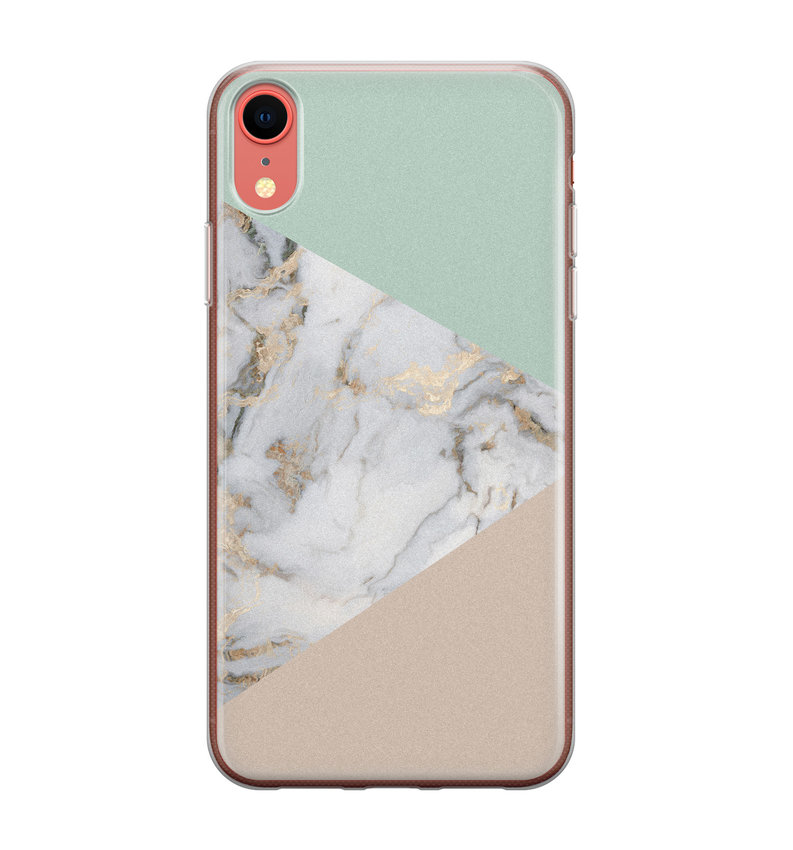 iPhone XR siliconen hoesje - Marmer pastel mix