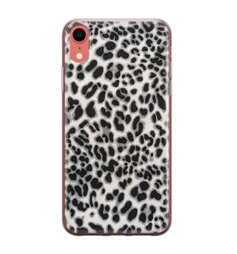 iPhone XR siliconen hoesje - Luipaard grijs