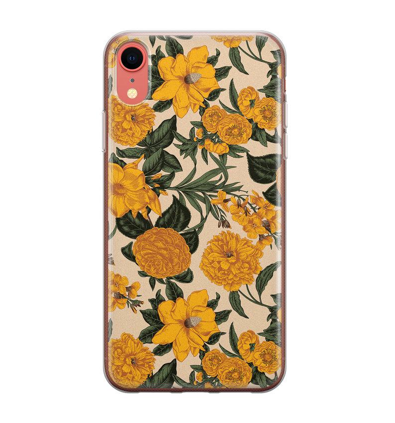 iPhone XR siliconen hoesje - Retro flowers