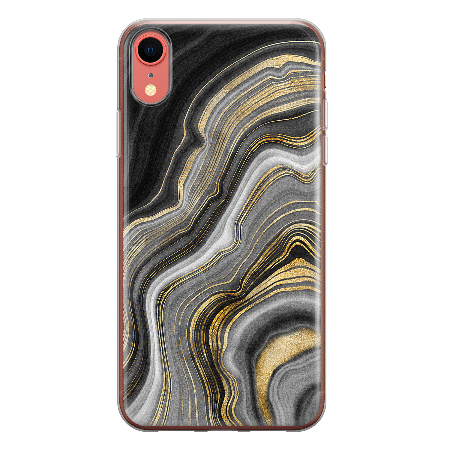 iPhone XR siliconen hoesje - Golden agate