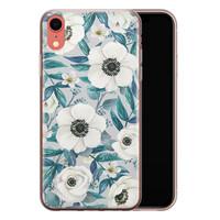 iPhone XR siliconen hoesje - Witte bloemen