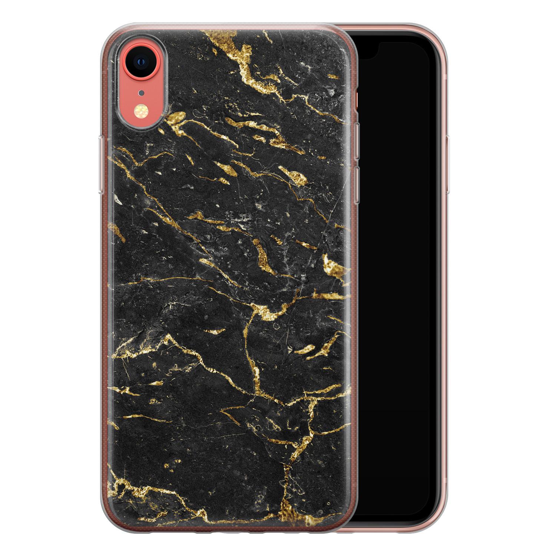 iPhone XR siliconen hoesje - Marmer zwart goud