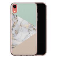 Leuke Telefoonhoesjes iPhone XR siliconen hoesje - Marmer pastel mix