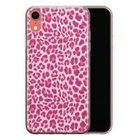iPhone XR siliconen hoesje - Luipaard roze