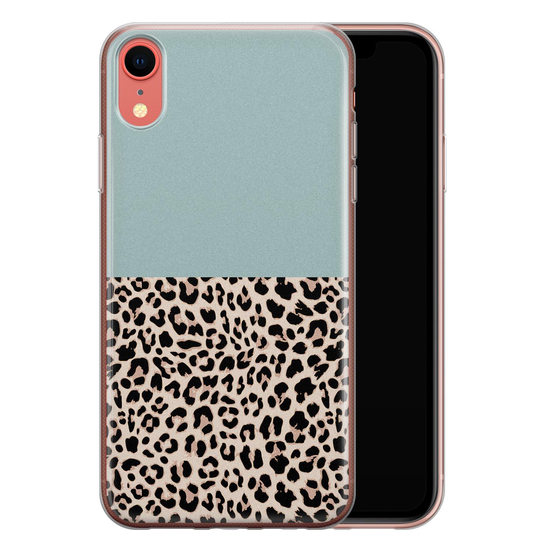 iPhone XR siliconen hoesje - Luipaard mint