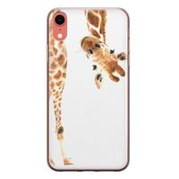 iPhone XR siliconen hoesje - Giraffe peekaboo