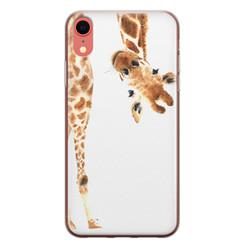 Leuke Telefoonhoesjes iPhone XR siliconen hoesje - Giraffe peekaboo