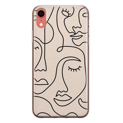 Leuke Telefoonhoesjes iPhone XR siliconen hoesje - Abstract gezicht lijnen