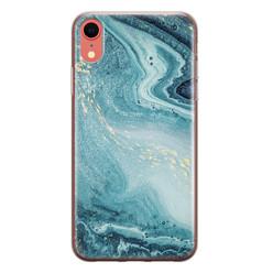 Leuke Telefoonhoesjes iPhone XR siliconen hoesje - Marmer blauw