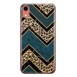 Leuke Telefoonhoesjes iPhone XR siliconen hoesje - Luipaard zigzag