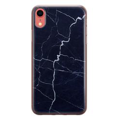 Leuke Telefoonhoesjes iPhone XR siliconen hoesje - Marmer navy blauw