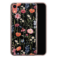 iPhone XR siliconen hoesje - Dark flowers