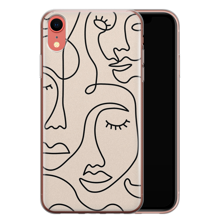 iPhone XR siliconen hoesje - Abstract gezicht lijnen