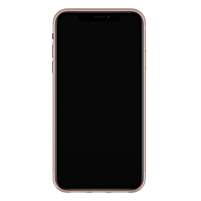 iPhone XR siliconen hoesje - Goud blauw marmer