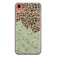iPhone XR siliconen hoesje - Luipaard flower print