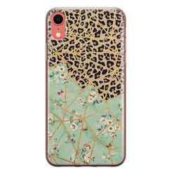 Leuke Telefoonhoesjes iPhone XR siliconen hoesje - Luipaard flower print