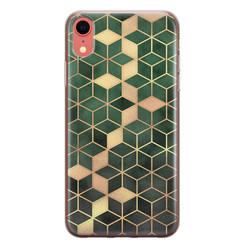 Leuke Telefoonhoesjes iPhone XR siliconen hoesje - Green cubes
