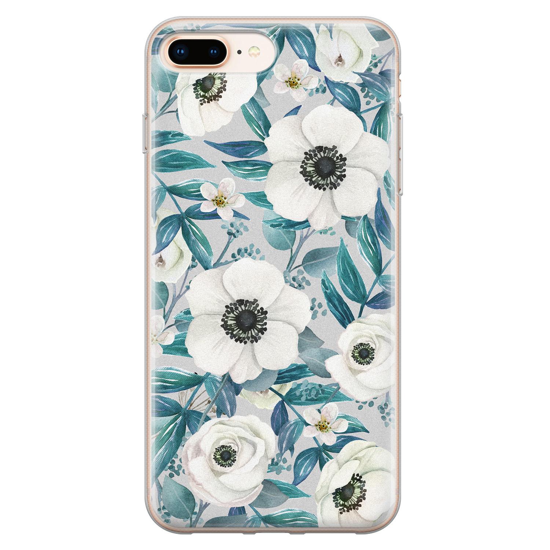 iPhone 8 Plus/7 Plus siliconen hoesje - Witte bloemen