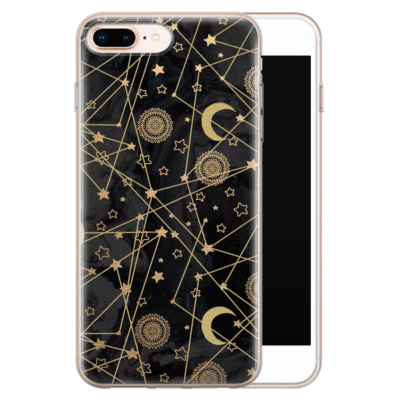 iPhone 8 Plus/7 Plus siliconen hoesje - Sun, moon, stars