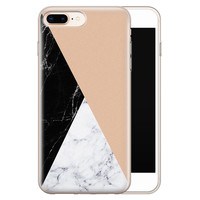iPhone 8 Plus/7 Plus siliconen hoesje - Marmer zwart bruin