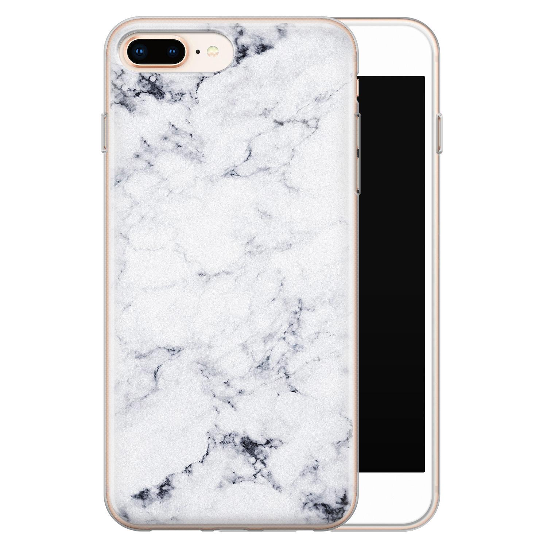 iPhone 8 Plus/7 Plus siliconen hoesje - Marmer grijs