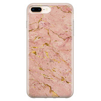 iPhone 8 Plus/7 Plus siliconen hoesje - Marmer roze goud