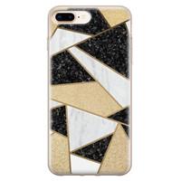 Leuke Telefoonhoesjes iPhone 8 Plus/7 Plus siliconen hoesje - Goud abstract