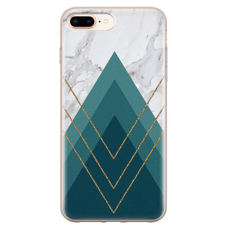 iPhone 8 Plus/7 Plus siliconen hoesje - Geometrisch blauw