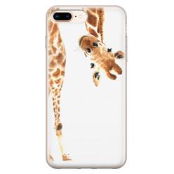 Leuke Telefoonhoesjes iPhone 8 Plus/7 Plus siliconen hoesje - Giraffe peekaboo