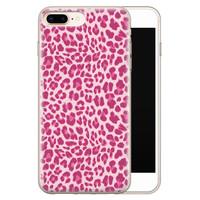iPhone 8 Plus/7 Plus siliconen hoesje - Luipaard roze