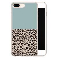 iPhone 8 Plus/7 Plus siliconen hoesje - Luipaard mint