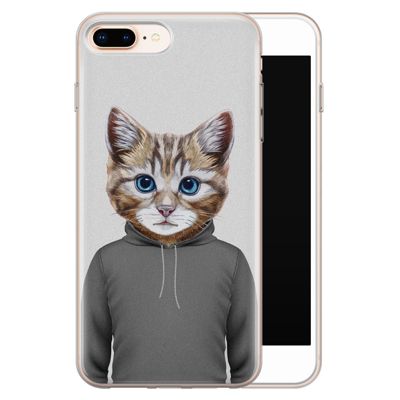 iPhone 8 Plus/7 Plus siliconen hoesje - Poezenhoofd