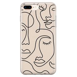 Leuke Telefoonhoesjes iPhone 8 Plus/7 Plus siliconen hoesje - Abstract gezicht lijnen